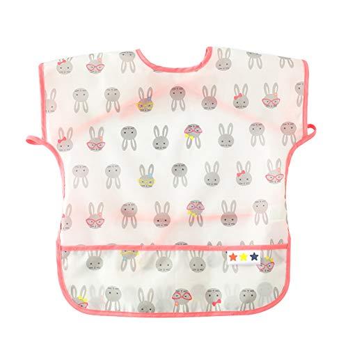 Kids Pocket Bib Comfortable Washable Bibs Short Sleeve Feeding Bibs Print Waterproof Smocks Adjustable Comfortable Bibs Lightweight Stain and Odor Resistant Aprons 6-12 Months
