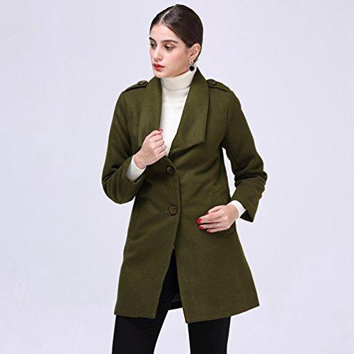 de Mujeres Verde Capucha Tendencias Alta Señoras Elegante Manga de Chaqueta Moda Calidad con las Abrigo Larga WanYang Señoras n05X15