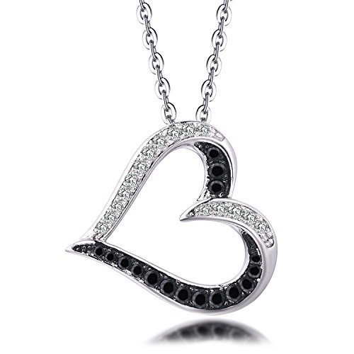 YL 10K White Gold Black & White Diamond Heart Pendant Necklace (0.21 Carat, H-I Color SI1 (0.21 Ct Color)