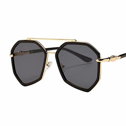 Las XIAOGEGE de color sol marea box elegante sol irregular de gafas polígono big film Negro chica gafas negro SqqBCw