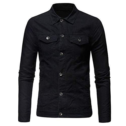WUAI Men's Denim Jackets Big and Tall Classic Slim Solid Color Vintage Button Casual Outwear(Black,US Size L = Tag XL) by WUAI