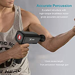 XVAN Muscle Massage Gun, Handheld Deep Tissue Massager for Pain Relief, Percussion Massage Device with 4 Adjustable…