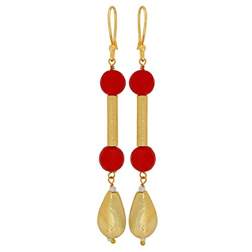 Maayra Royal Classic Earrings Red Dangler Drop Dailywear Jewellery by Maayra