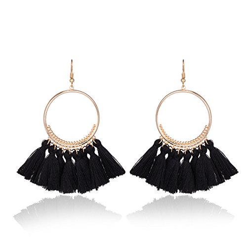 Fashion Tassel Gold Hoop Earrings Dangle with Fish Hook Fringe Thread Earring for Women (Black) (Black Earring Fish)