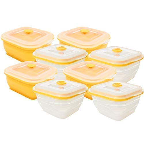 Collapse-it Silicone Food Storage Containers - BPA Free Airtight Silicone Lids, 8 Piece Variety Set of 2-Cup Collapsible Lunch Box Containers - Oven, Microwave, Freezer Safe
