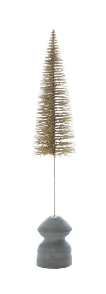 Heart of America Bottle Brush Tree With Cement Base Gold Finish - 4 Pieces
