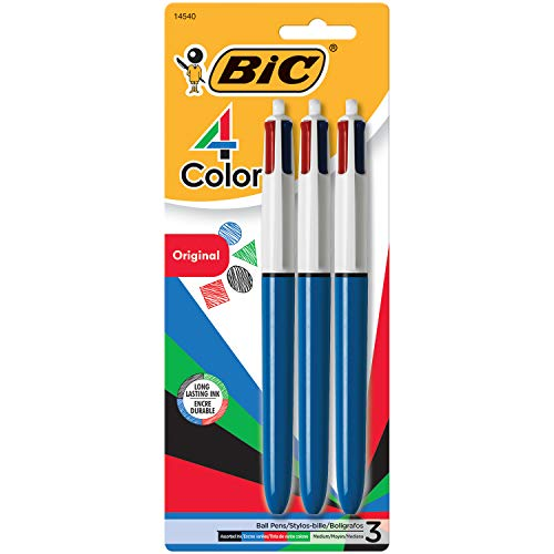 Royal Blue Shuttle - BIC 4-Color Ballpoint Pen, Medium Point (1.0mm), Assorted Inks, 3-Count