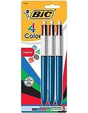 BIC 4 Colours Original Retractable Ball Pens Medium Point (1.0 mm) - Pack of 3