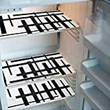 KHUSHI CREATION™ Set of 6 PVC Classic Black & White Piano Design Refrigerator Drawer MAT Fridge MAT