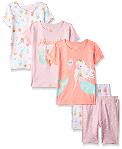 Carter's Baby Girls' 5-Piece Cotton Snug-Fit Pajamas, Mermaid, 12 - Girls Pjs