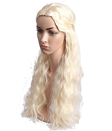 [DAYISS Game of Thrones Daenerys Targaryen Long Curly Wavy Synthetic Hair Wig Cosplay] (Daenerys Targaryen Costume Hair)