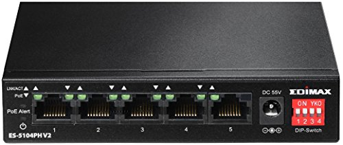 Edimax ES-5104PH V2 Long Range 5 Port Fast Ethernet Switch with 4 PoE+ Ports, Supports Long Range up to 200M, Port-Base VLAN, QoS, Auto-detect PD, Total 60W with External Power Adapter by Edimax