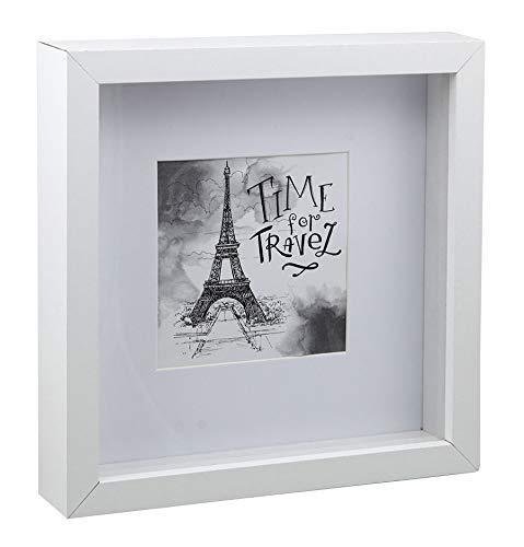 Idealtrend Block Holz Bilderrahmen in Weiß 23x23 cm quadratischer Objektrahmen Foto Rahmen