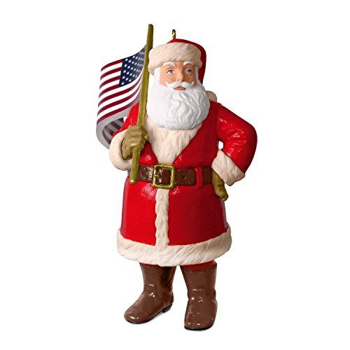 American Christmas Ornament - Hallmark Keepsake Christmas Ornament 2018 Year Dated American Flag Santa Patriotic, Saluting Old Glory,