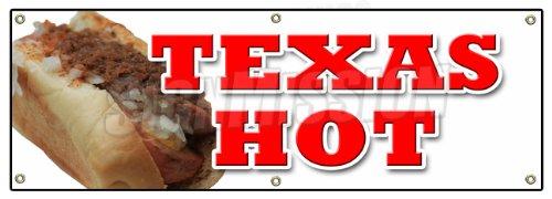 "72"" TEXAS HOT BANNER SIGN weiner hot dog sign"