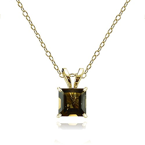 Bria Lou 14k Yellow Gold Smoky Quartz Gemstone 6mm Square-Cut Solitaire Pendant Necklace, ()
