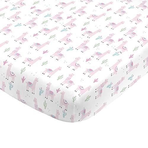 (NoJo Super Soft Pink Llama Nursery Mini Crib Fitted Sheet, Pink, White, Green)
