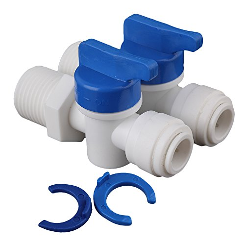 "BQLZR White 1/4"" to 3/8 Ball Valve Quick Connect Fitting for Water Purifier Reverse Osmosis Systems Pack of 2"