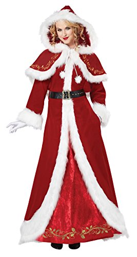 California Costumes Women's Mrs. Claus Deluxe Adult, Red/White, Large -