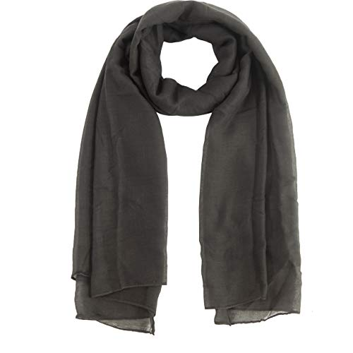 MissShorthair Womens Long Scarf in Solid Color Large Sheer Shawl Wraps for Evening (19 Medium gray)