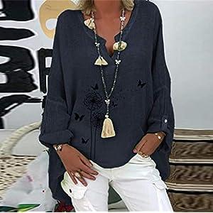 Barkoiesy Women T Shirt Floral Print Cotton Linen Casual Top Long Sleeve V-Neck Shirt Fashion Loose Plus Size Blouse Top