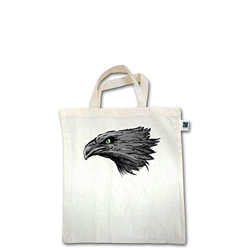 Vögel - Adler - Unisize - Natural - XT500 - Fairtrade Henkeltasche / Jutebeutel mit kurzen Henkeln aus Bio-Baumwolle