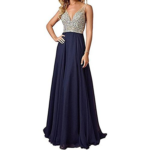 Kevins Bridal Deep V-Neck Chiffon Bridesmaid Dresses Beaded Long Evening Gowns Navy Size 4