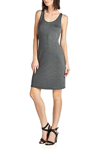 [Beachcoco Women's Fitted Jersey Midi Length Dress (S, Charcoal)] (Maternity Jersey Dress)