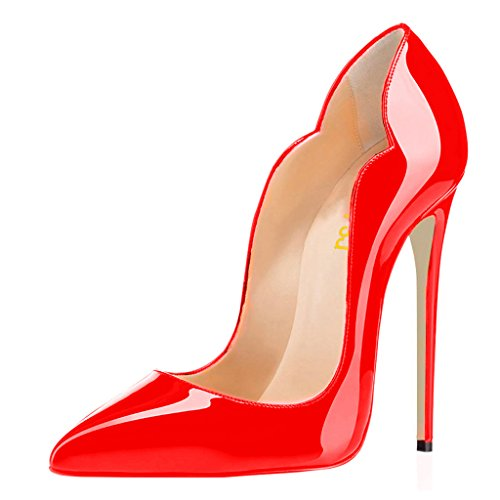 FSJ Women Classic Pointed Toe High Heels Sexy Stiletto Pumps Office Lady Dress Shoes Size 7 Red