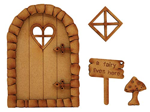 (Pebble Heart Fairy Door. Three-Dimensional Self-Assembly Wooden Fairy Door Craft Kit with Fairy Window, Toadstool & Fairy Sign)