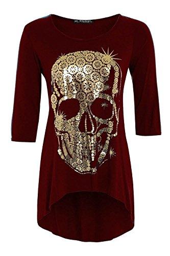 Oops Outlet Women's Golden Skull 3/4 Sleeve Dip Hem High Low Dress Top Plus Size (US 20/22) Wine