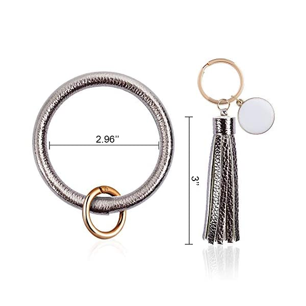 OFFICYGNET 3PCS Key Ring Bracelets, Leather Tassel Bangle Round Key Ring Wristlet Keychain for Women Girl and Valentine Birthday Party Gifts (Pink, Gray, Marble)
