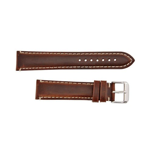 Oil Tan Leather Brown Heavy Padded Stitched 18mm Watch Strap by Hadley Roma by HADLEY-ROMA
