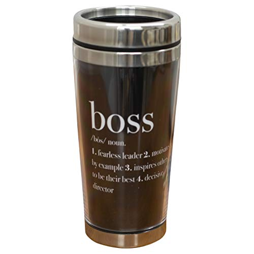 Boss Fearless Leader Definition Black 16 Oz Stainless Steel Travel Mug with Lid