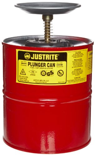 Justrite 10308 Red Steel Plunger Safety Can - 1 Gallon Capacity