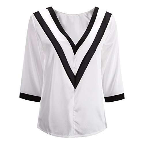 Manche shirt Chemisier de Bold Pull T Uni Chic V Mousseline Tunique 4 Col Soie Fille Et Printemps Manner 3 Blouse Femme wAYxqtFx