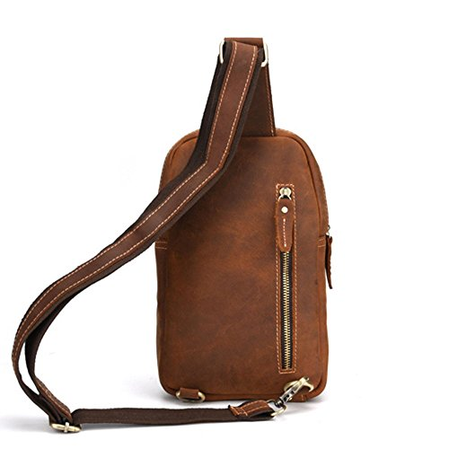Sport Color Cuero Mochila Casual de Bolso de Café Crossbody Ajustado Daypack Hiking Marrón Hombro Pecho Yamyannie Bolsa pequeño Travel Mano de de Bolso Genuino Hombres Hombres qRFFg