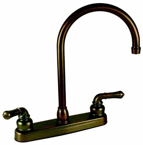"""8"""" Rv Kitchen w/ Teapot Handles w/ Gooseneck Spout - Oil Rub Bronze"""