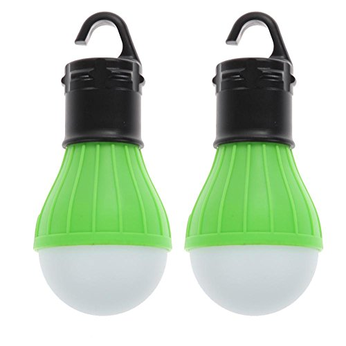 Domybest 2 PCS Outdoor Hanging 3LED Camping Tent Light Bulb Fishing Lamp(Green) (Tent 2 Orb)