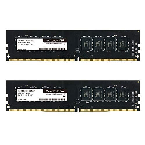 - TEAMGROUP Elite DDR4 16GB Kit (2 x 8GB) 2666MHz PC4-21300 CL19 Unbuffered Non-ECC 1.2V UDIMM 288 Pin PC Computer Desktop Memory Module Ram Upgrade - TED416G2666C19DC01-16GB Kit (2 x 8GB)