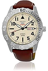Seiko Automatic SRP757 Cream Dial Brown Leather Band Men's Watch