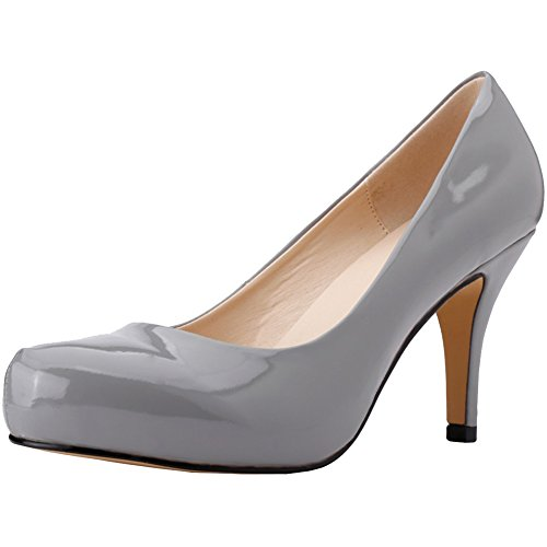 fereshte Women's 2017 New Style Fashion Office Lady Shoes Patent Leather Round-Toe Stiletto High Heels Pumps Gray EU40-US Size 8.5 (Patent Toe Leather Pumps)