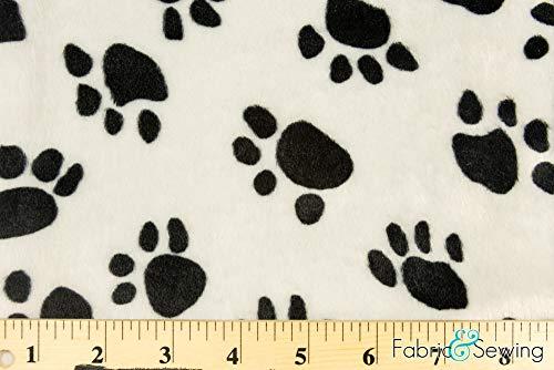 White and Black Puppy Dog Paw Print Velboa Plush Faux Fake Fur Fabric Polyester 14 oz 58-60