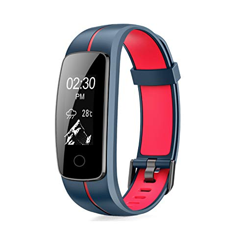 MICROTELLA Smart Fitness Tracker, Activity Watch Waterproof, Smart Band with Step Counter, Calorie Counter, Fit Bit Band, Fitness Tracker with Heart Rate Monitor for Android and iOS (Dark Blue/Red)