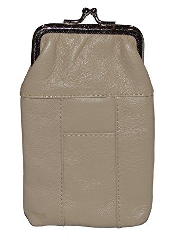 Leather Cigarette Case Pack Holder Regular or 100's Lighter Pocket by Leatherboss (Cream)]()