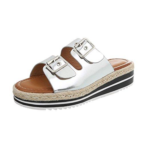 Vestir Sandalias Para Zapatos Ital Ybq160 de Mujer Plano Plateado Zuecos Design IqYxwC