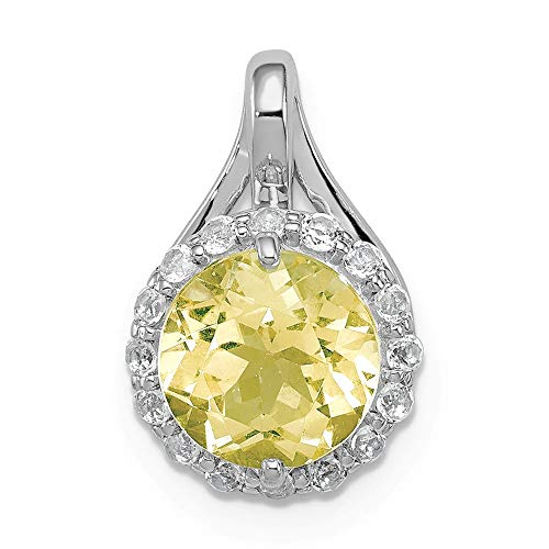 (925 Sterling Silver White Topaz Lemon Quartz Circle Pendant Charm Necklace Gemstone Fine Jewelry Gifts For Women For Her)