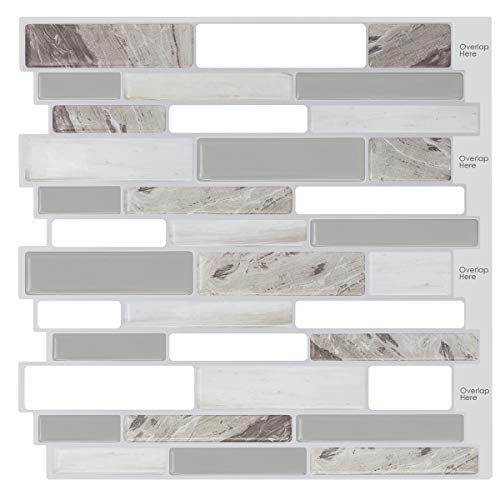 HUE DECORATION Modern Grey Peel and Stick Tile Backsplash for Kitchen Decorative Vinyl Backsplash Tile Peel and Stick Subway Tiles,Smart Sticker Tile for RV Kitchen 10quot H x 98quot L Pack of 5