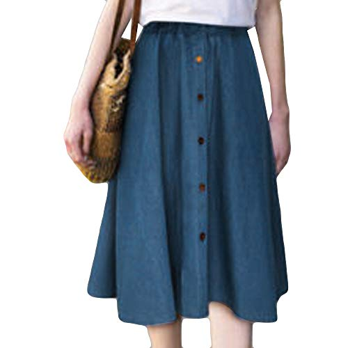 Topgrowth Donna Gonna Gonne line Blu Vita Denim Casual Plissettata A Skirt Jeans Pulsante Elasticizzata Lunga jLUzpGqSVM