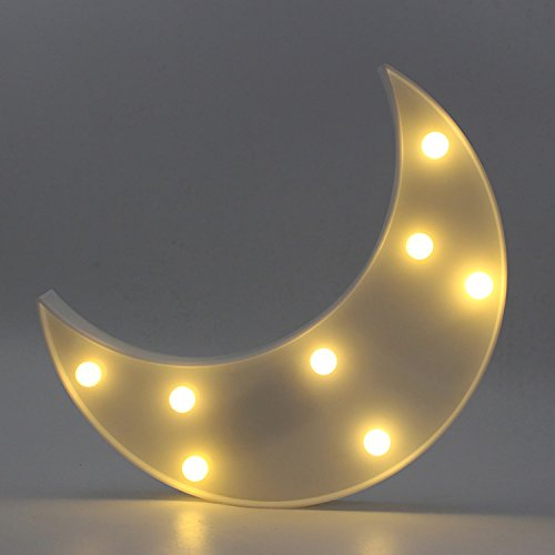 Yaeer Decorative LED Crescent Moon Marquee Sign LED Lights Nursery Night Lamp Home Decoration Kids Room (White)